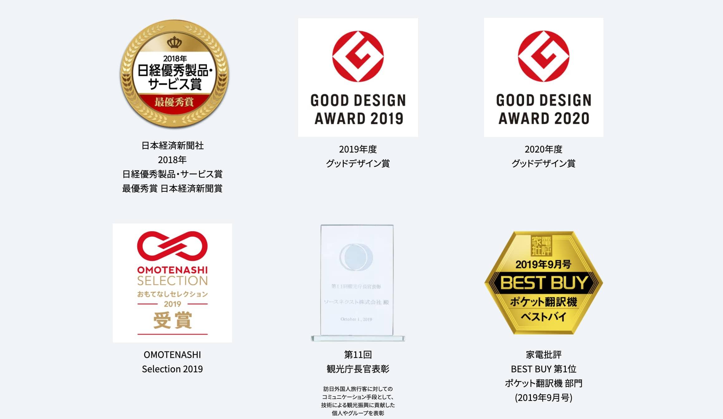 ポケトーク|グッドデザインや日経優秀製品・サービス賞など各種の受賞実績